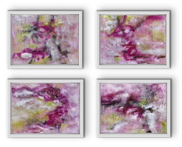 Little loves in pink I oil on canvas I each 30 x 40 cm I framed