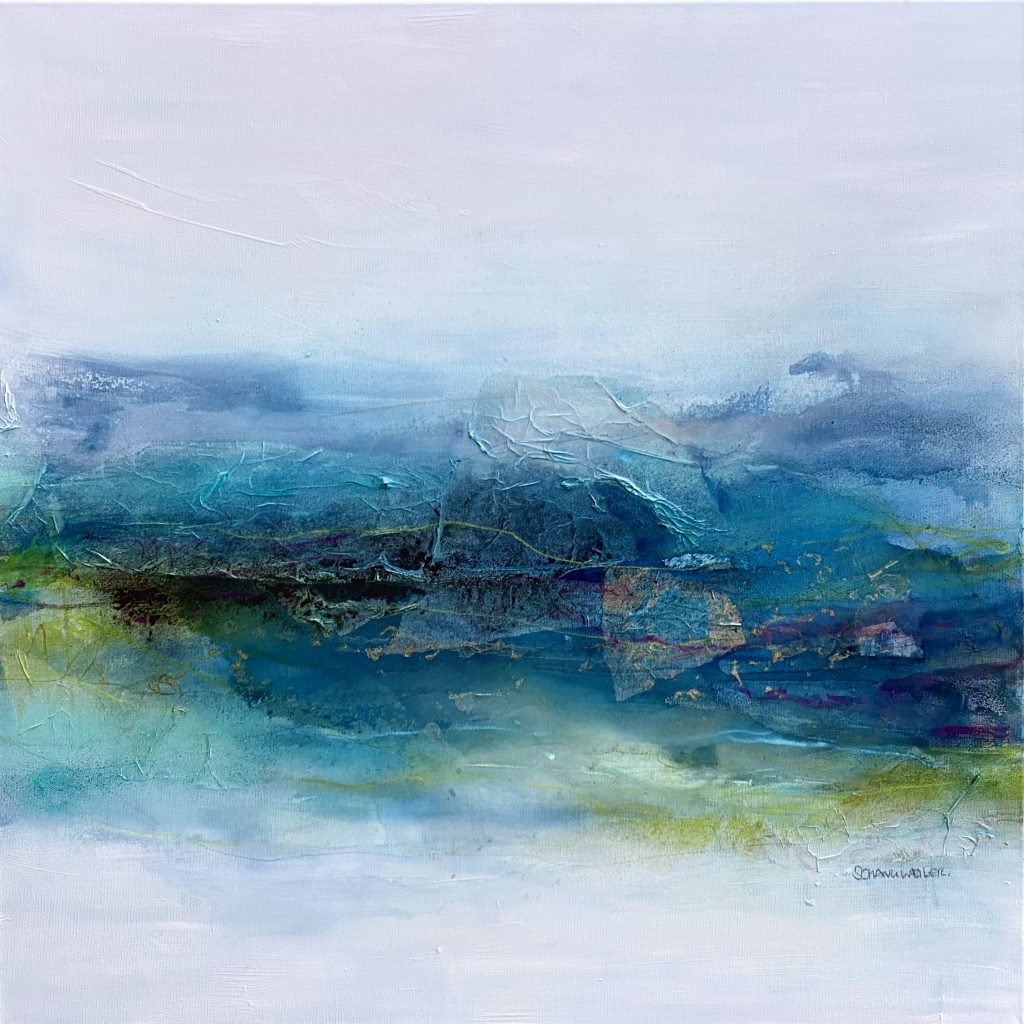 At the waterfront #3 - Mixed media on canvas - 80 x 80 cm